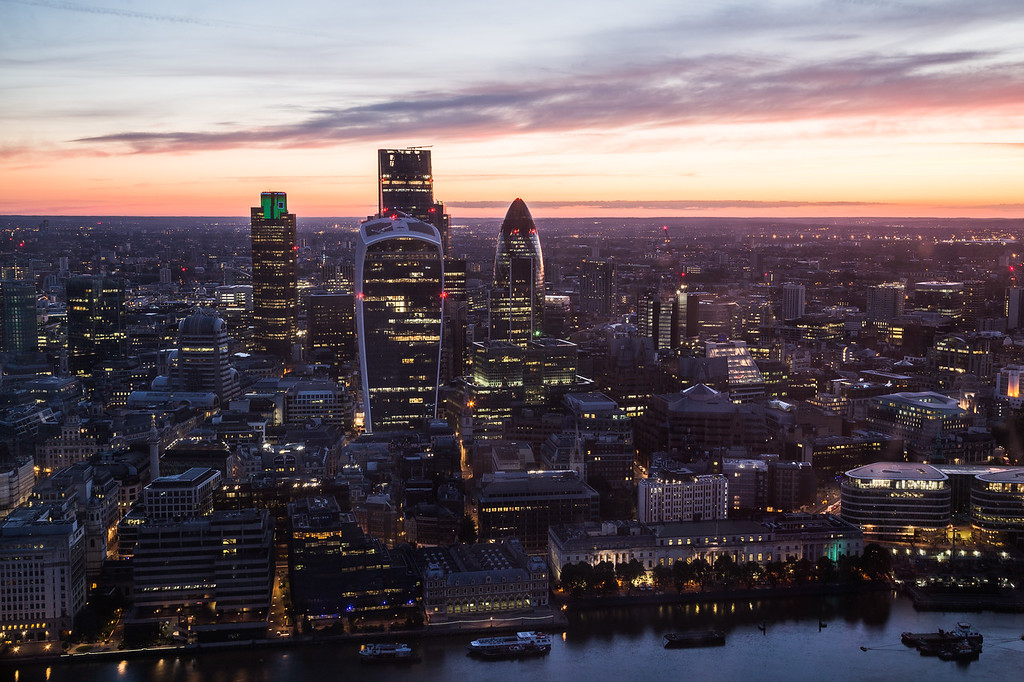 High view of the London Skyline in the morning