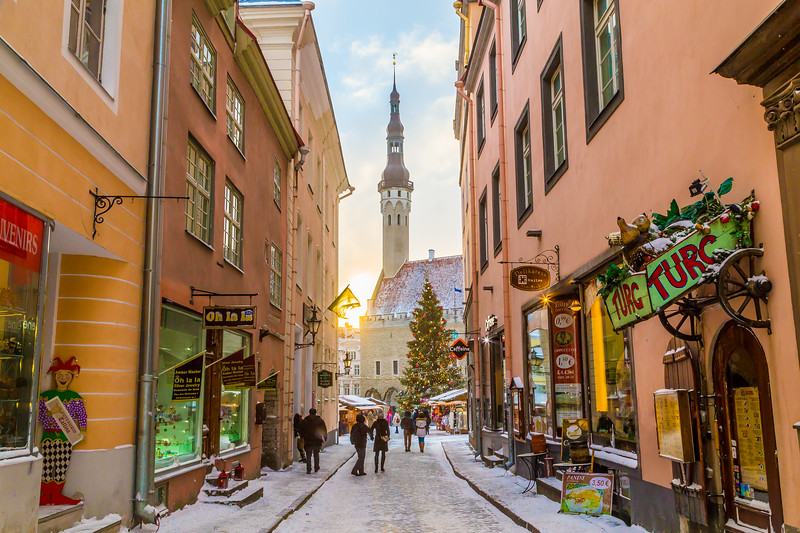 Raekoja plats, Old Town Hall Square and Town Hall in Tallinn in the morning during the festive period.