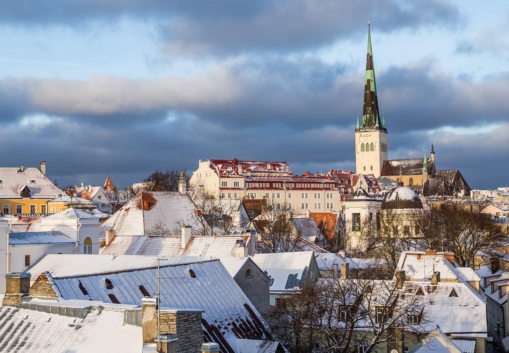 Part of the Tallinn Skyline in the Winter