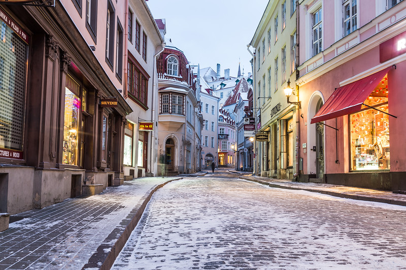 Pikk street in Tallinn Old Town in the morning during the winter