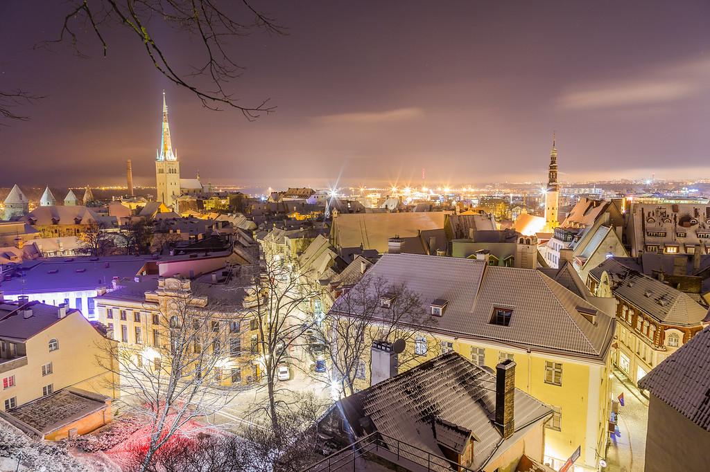 Tallinn skyline during the winter from the Kohtuotsa viewing platform