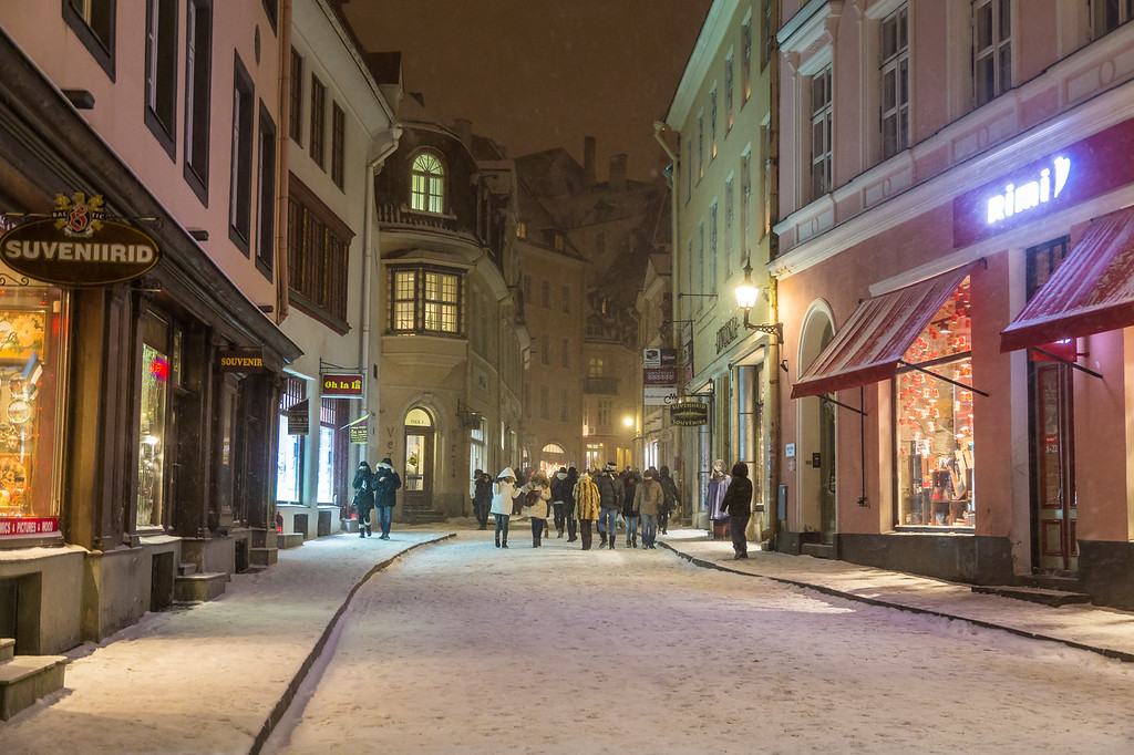 Pikk Street in Tallinn at night