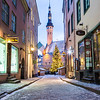 Raekoja plats, Old Town Hall Square in Tallinn in the morning during the festive period