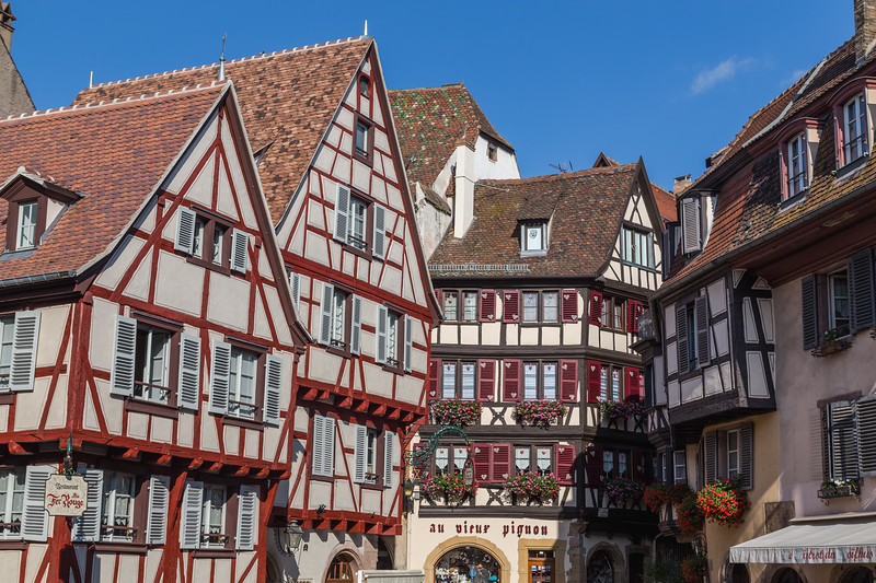 Closeup to Timber Framed Buildings in Colmar, France