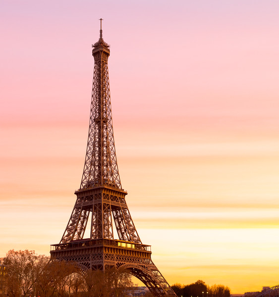 Eiffel Tower at Sunset with copy space