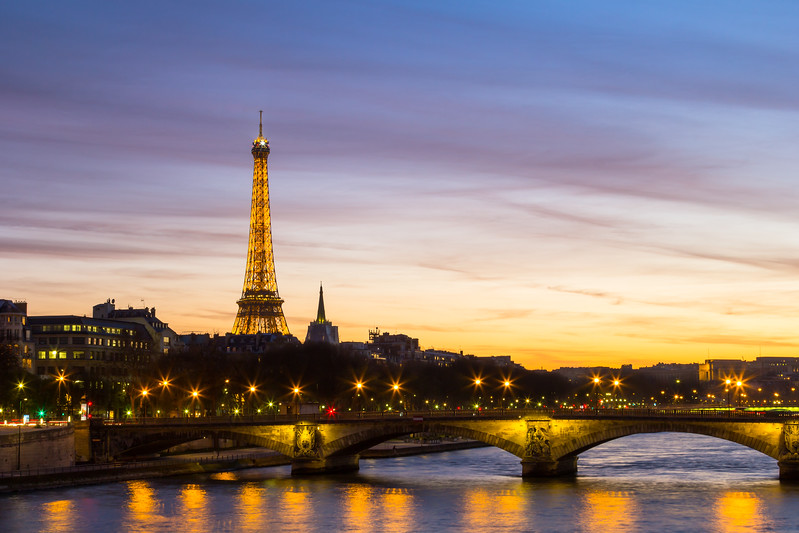 Eiffel Tower at Night with River Seine