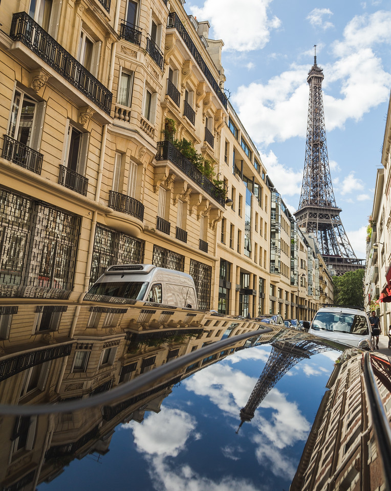 Eiffel Tower in Paris and Reflections