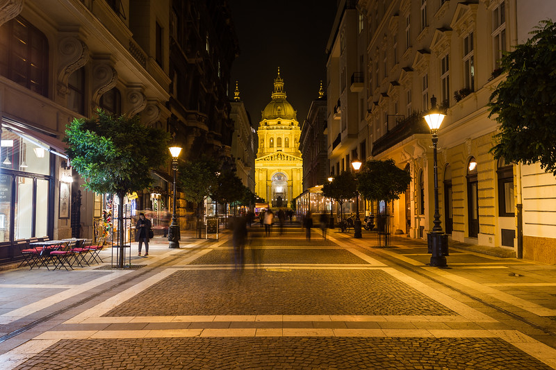 Zrinyi street and St Stephens Basilica in Budapest