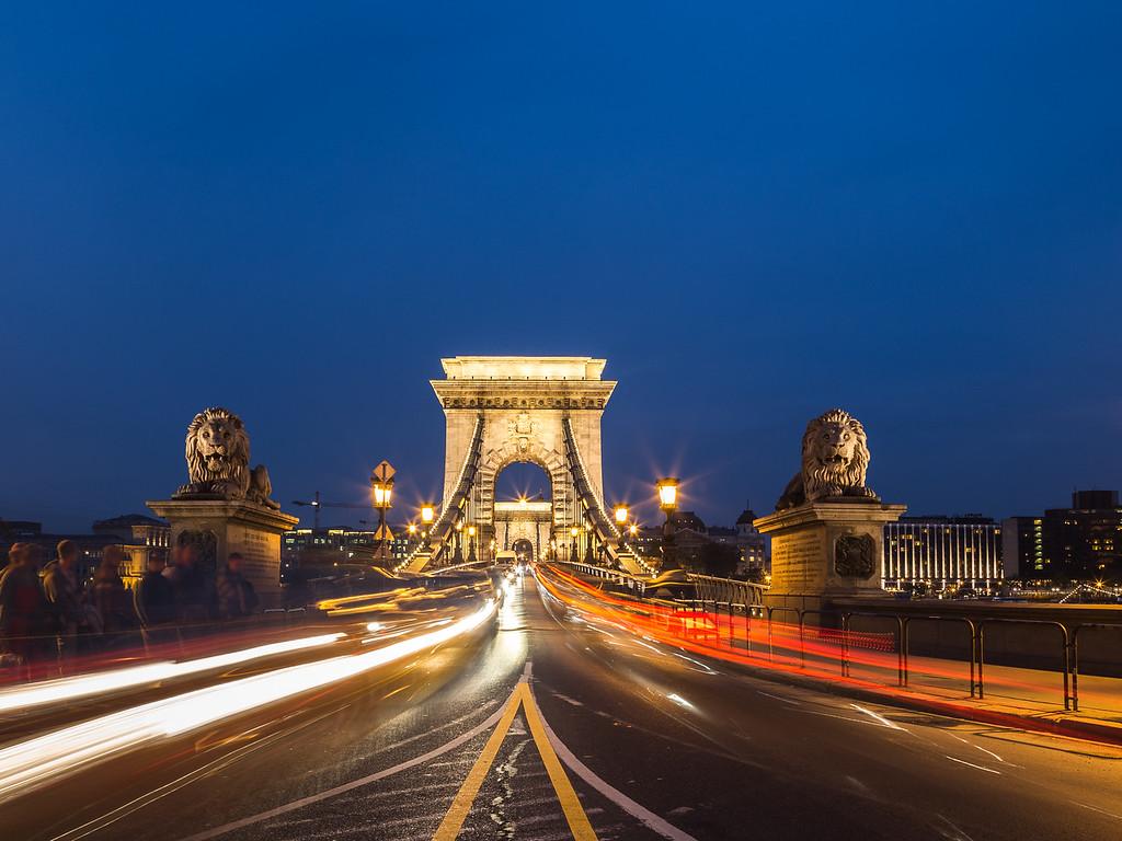 Szechenyi Chain Bridge in Budapest at Night