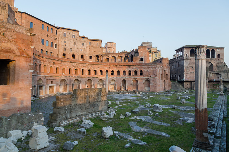 Ruins of Trajan's Market (Mercati di Traiano) in Rome during sunset