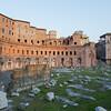 Ruins of Trajan's Market (Mercati di Traiano) in Rome during sunset