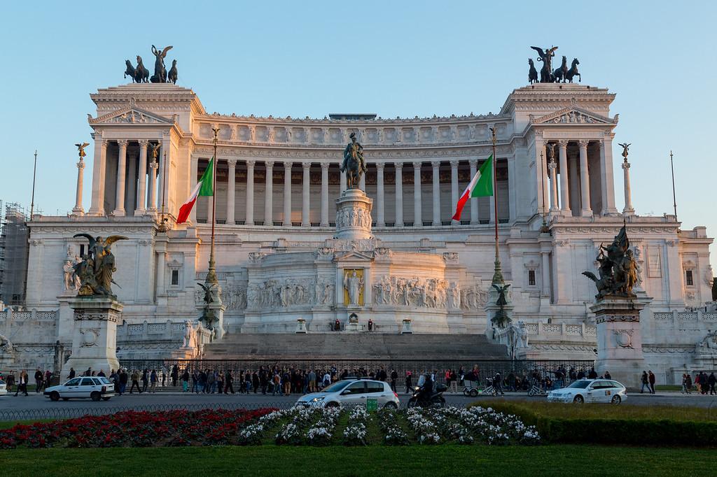 ROME, ITALY - 11TH MARCH 2015: Piazza Venezia and Vittoriano Emanuele Monument