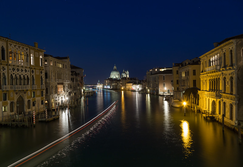 Venice Grand Canal and Buildings  at Night
