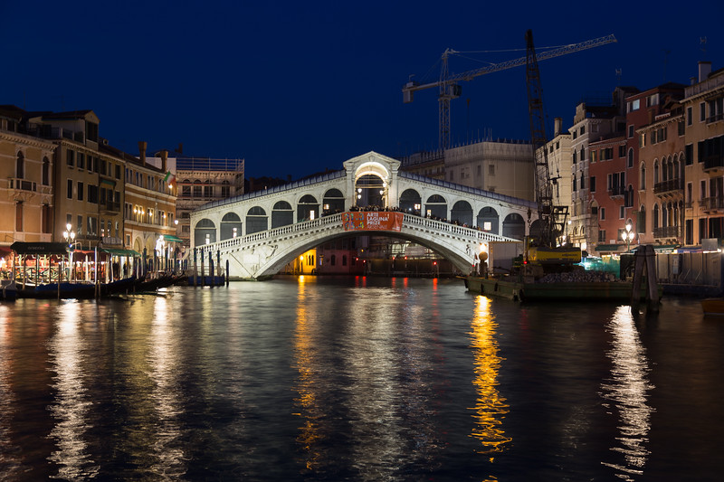 Rialto Bridge in Venice at Night