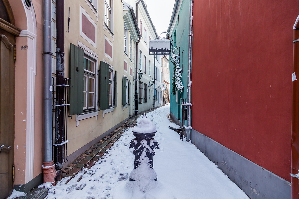 Torna Iela in Riga Old town in the winter