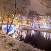 Bastejkalna park in Riga in the winter at night