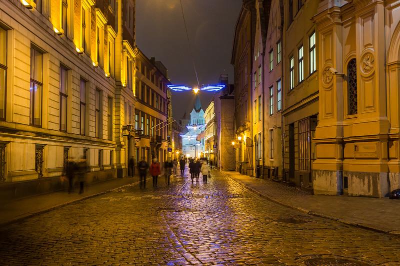 Streets of Riga at night