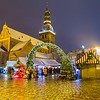 Riga Doms Cathedral and Christmas Markets Stalls at Ratslaukums