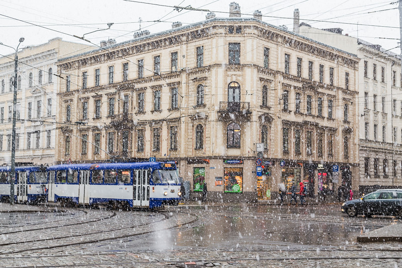 Heavy snow in Riga during the winter
