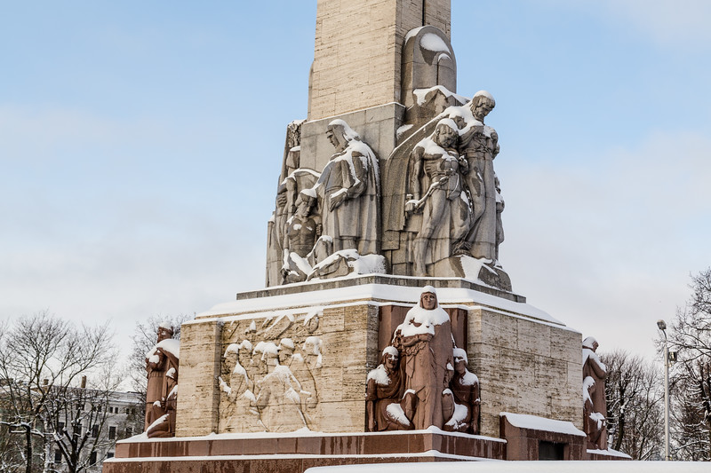 The Freedom Monument in Riga during the day