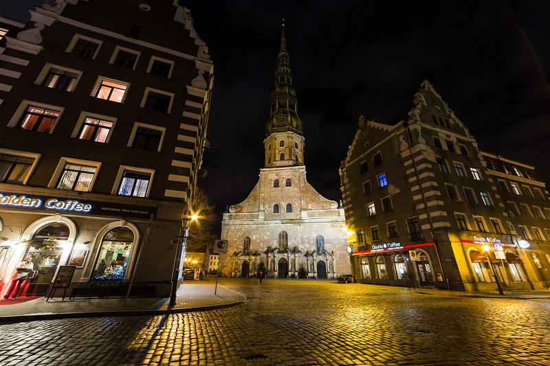 St. Peter's Church in Riga at Night