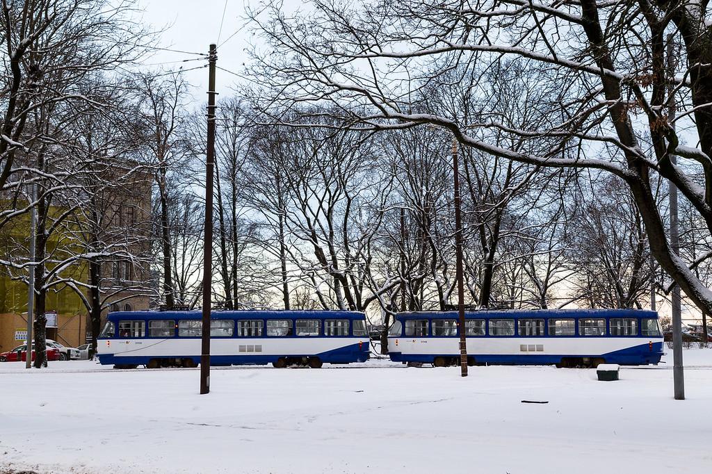 Trams in Riga in the winter
