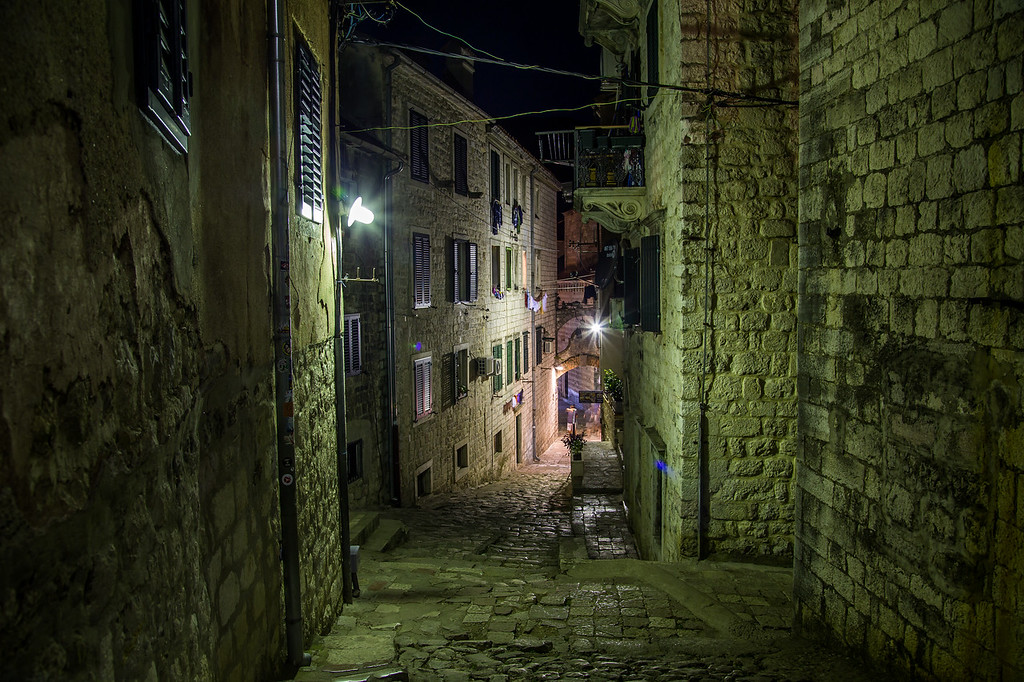 Streets of Old Town Kotor at night