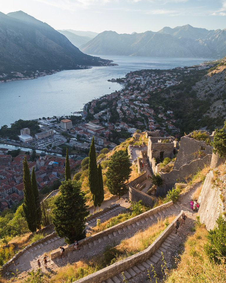 Kotor Fortress and Old town at Sunset