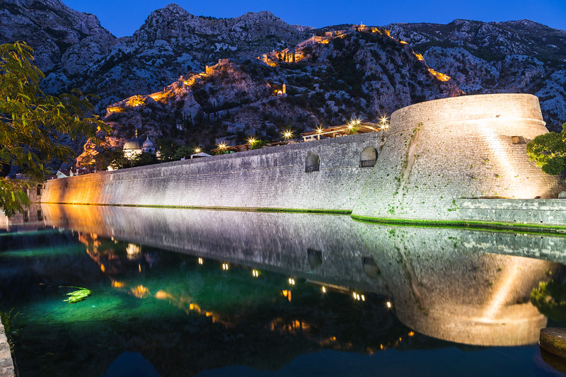 Kotor Walls and Fortress at Night