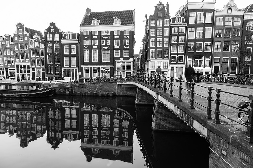 Buildings along the Amsterdam Canals in Black and White
