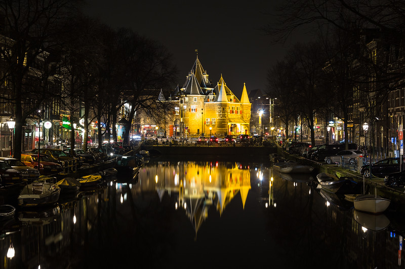 "View towards The Waag (""weigh house"")  in Amsterdam at night"