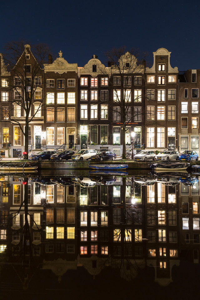 Buildings in Amsterdam at Night