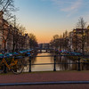 Bikes, Buildings and Boats in Amsterdam at Dawn