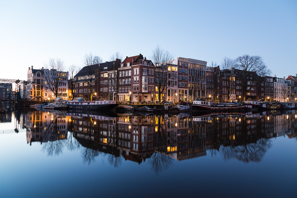 Oudeschans Canal and buildings in Amsterdam