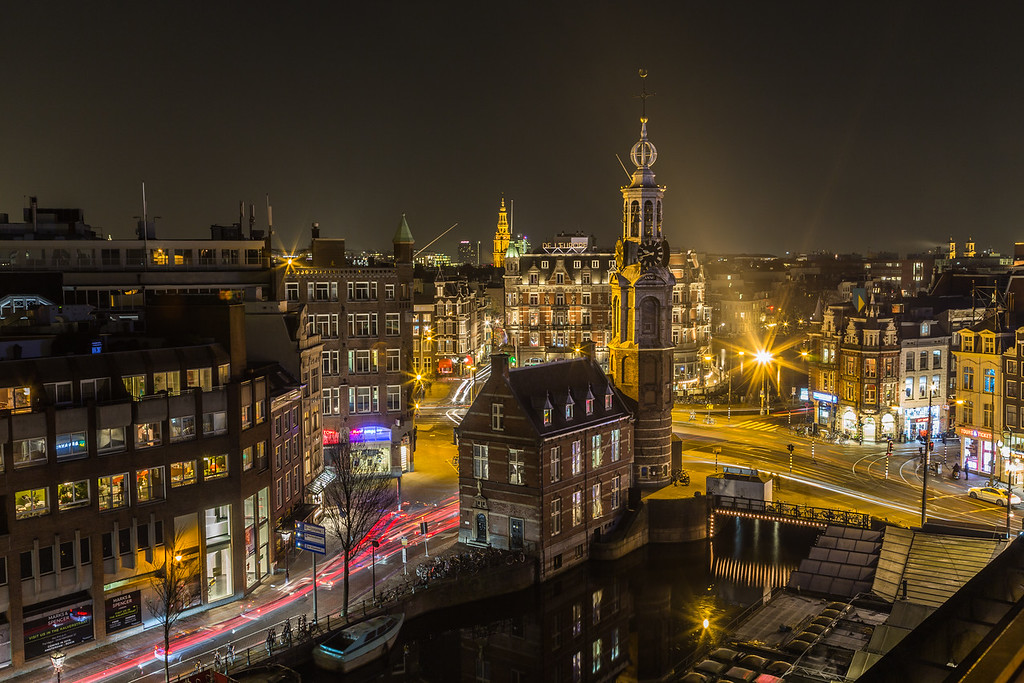 High view of Amsterdam at night