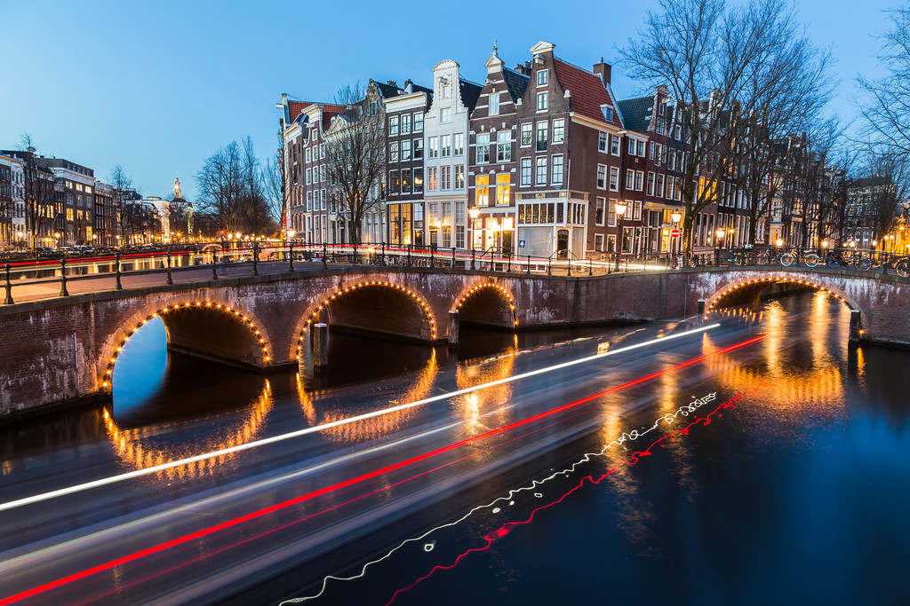 Bridges at the Leidsegracht and Keizersgracht canals intersection in Amsterdam