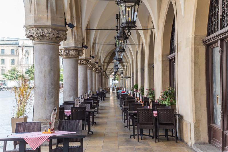 Restaurants along the Cloth Hall in Krakow