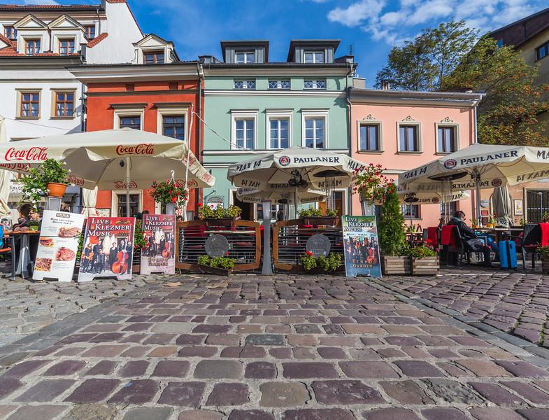 Colourful buildings in Kazimierz, Krakow