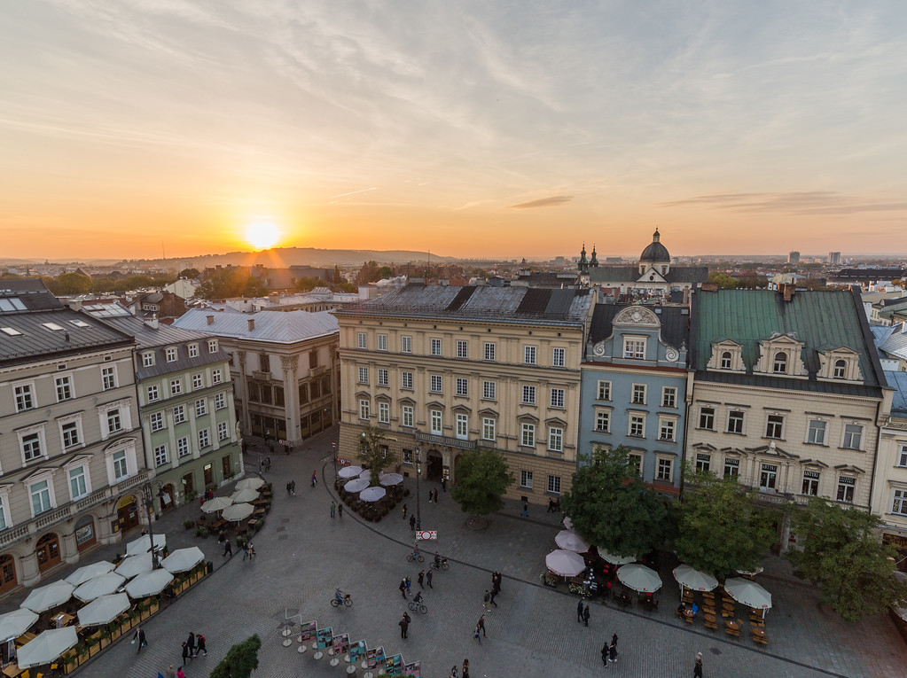 Rynek Glowny (Main Square) in Krakow at sunset