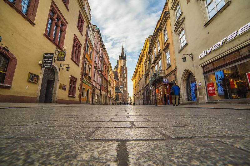 Florianska street and St. Mary's Basilica in Krakow