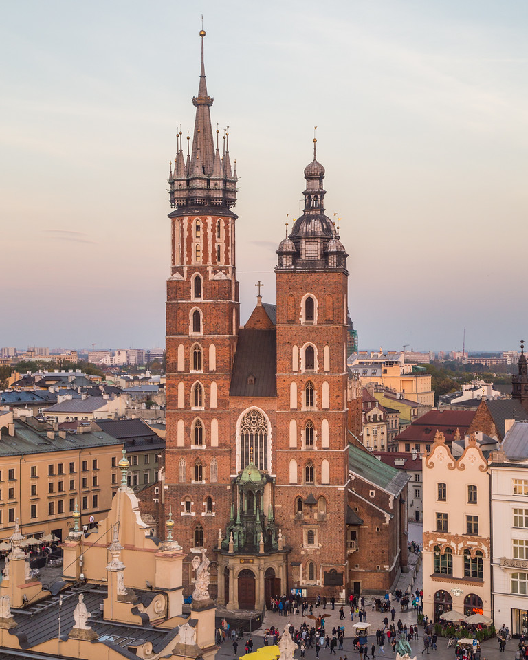 St. Mary's Basilica and buildings on Rynek Glowny in Krakow