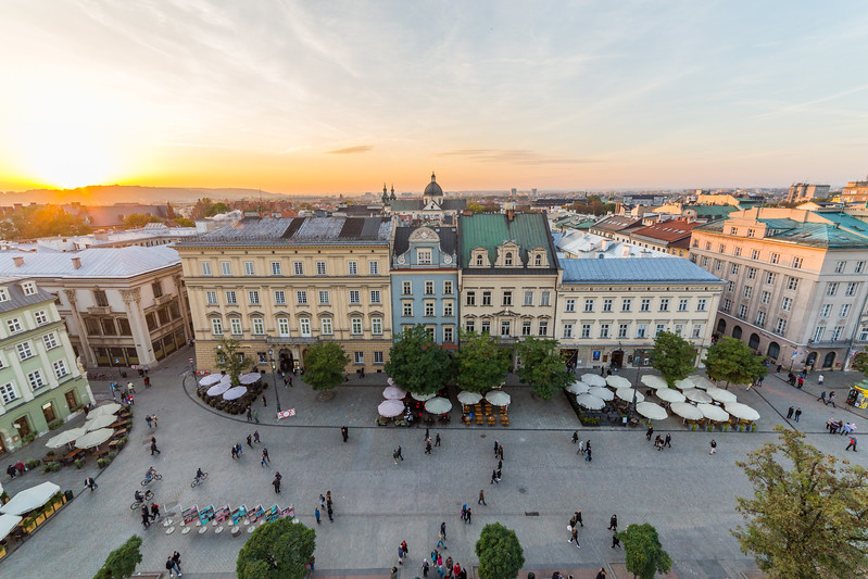 Rynek Glowny (Main Square) in Krakow at sunset