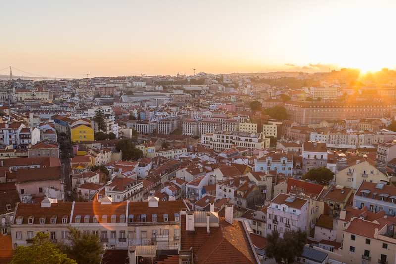 Miradouro da Graca viewpoint in Lisbon at sunset