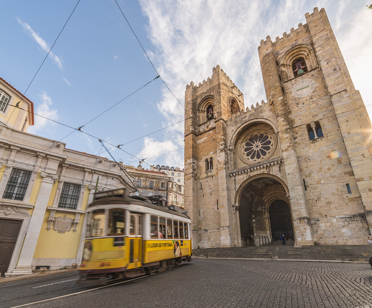 Lisbon Cathedral and a yellow tram
