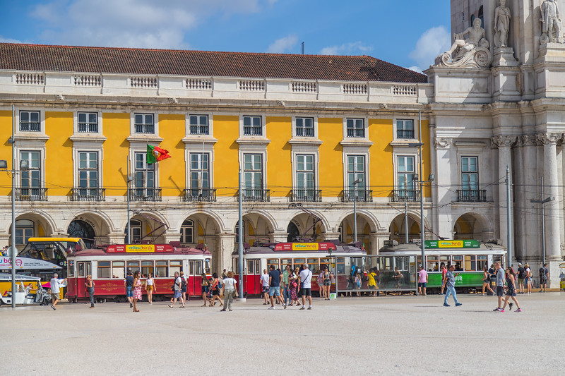 Tour trams at Praca do Comercio in Lisbon