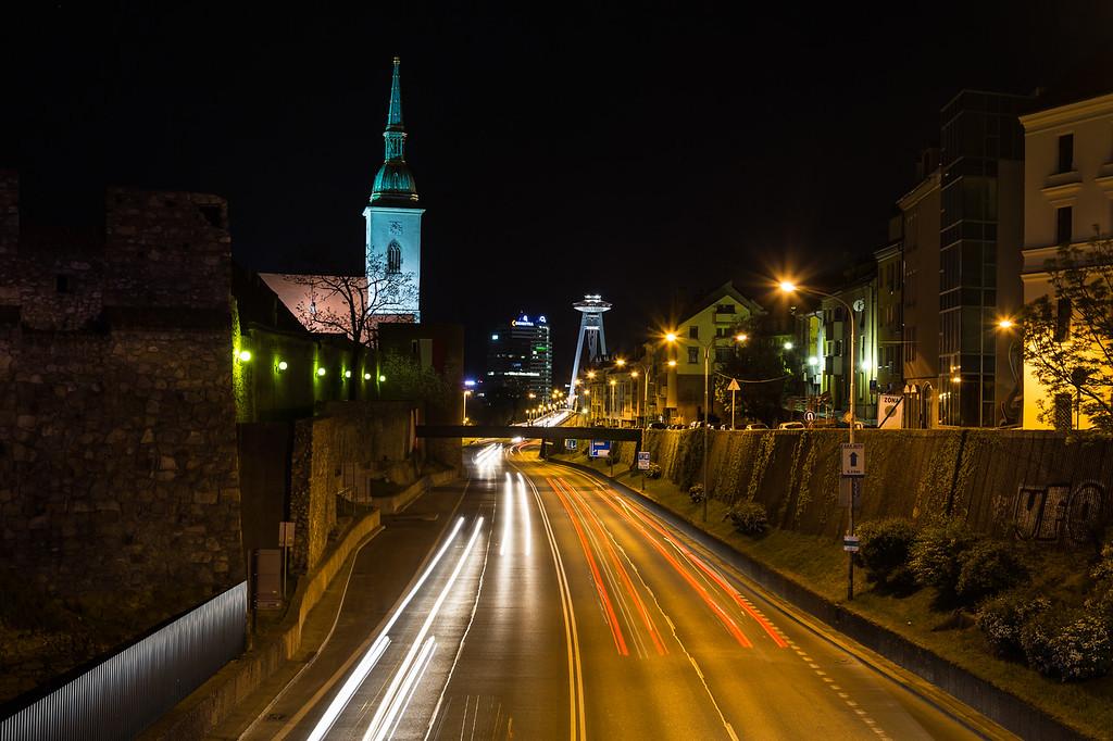 Staromestska towards the UFO Tower in Bratislava