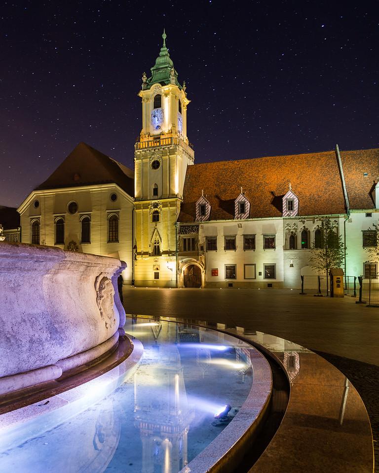 Old Town Hall in Bratislava, Slovakia at night