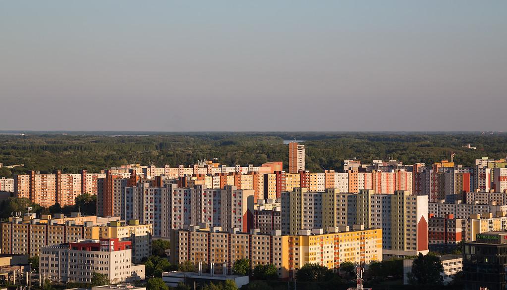 Multi coloured Tower Blocks in Bratislava