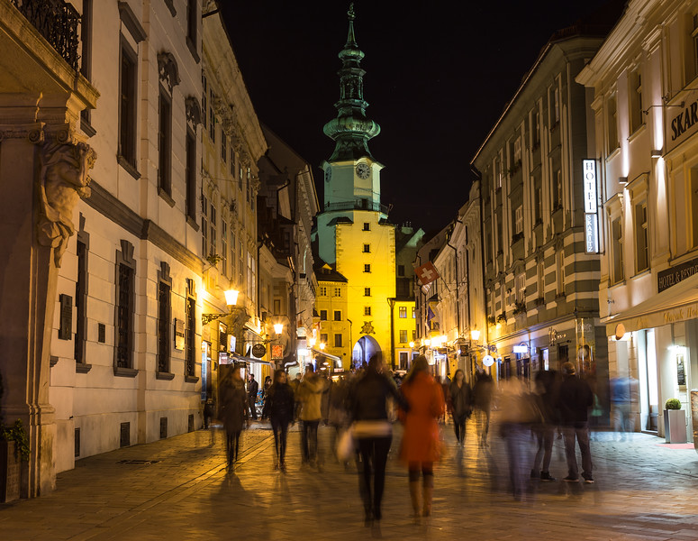Michalská towards Michael's Gate at night