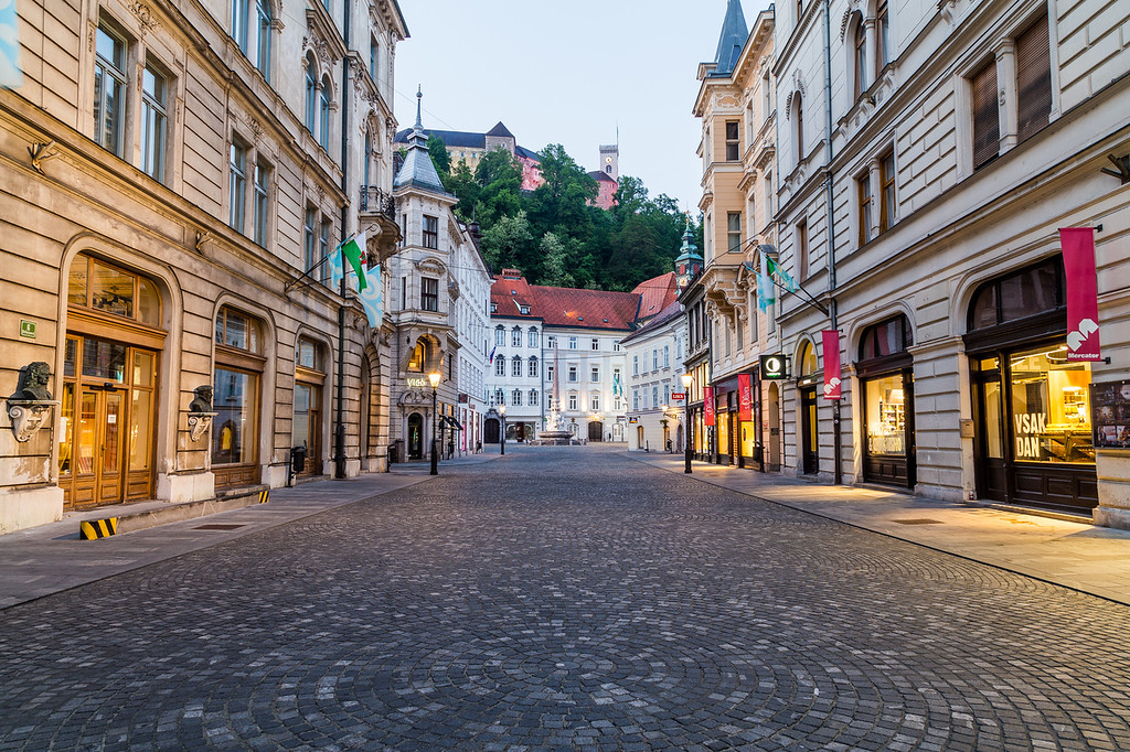 Buildings in Ljubljana  in the morning